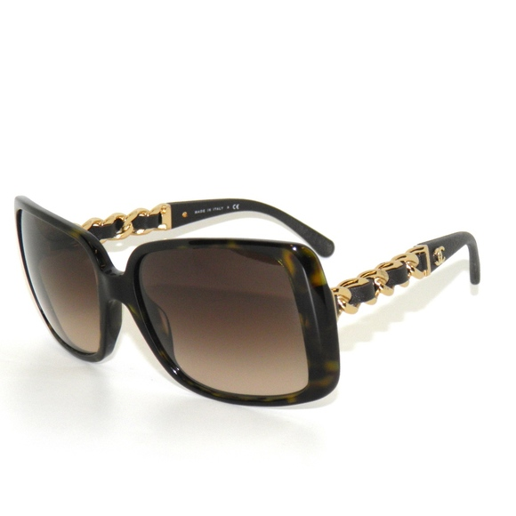 c772fac0a010 Chanel 5208Q 714 3B Brown Gold Chain Sunglasses